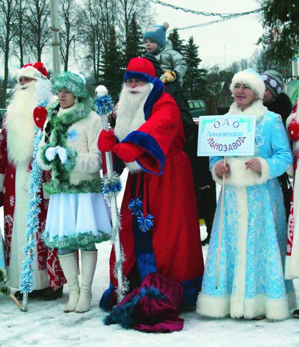 парад Дедов Морозов в Лиозно